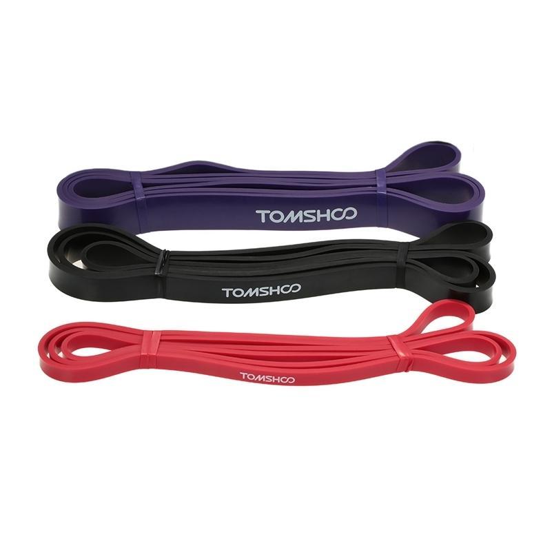 Tomshoo 3pcs 208cm Bandas de resistencia a la aptitud 3 niveles Ejercicios de banda elástica Transporte de banda de banda de yoga Entrenamiento de la banda de la cuerda 201031