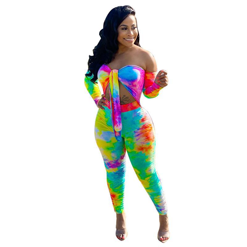 Rainbow Tie Dye Pagliaccetto da donna Tuta Sexy Off Spalla manica lunga a maniche lunghe Skinny Body Summer Bow Tiovello Scava Out Beach Plays Set