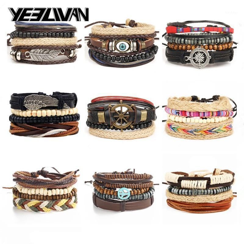 Charme pulseiras de couro vintage grânulos punk e pulgões moda multicamada corda envoltório motociclista homens para mulheres artesanais jóias1
