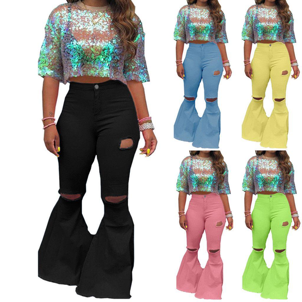 Kadınlar Lady Giyim Moda Delik Zipper Geniş Bacak Pantolon Boot Cut Pant Kot Pantolon Ropa Mujer # R25 A1112 İçin Yeni Katı Ripped Jeans