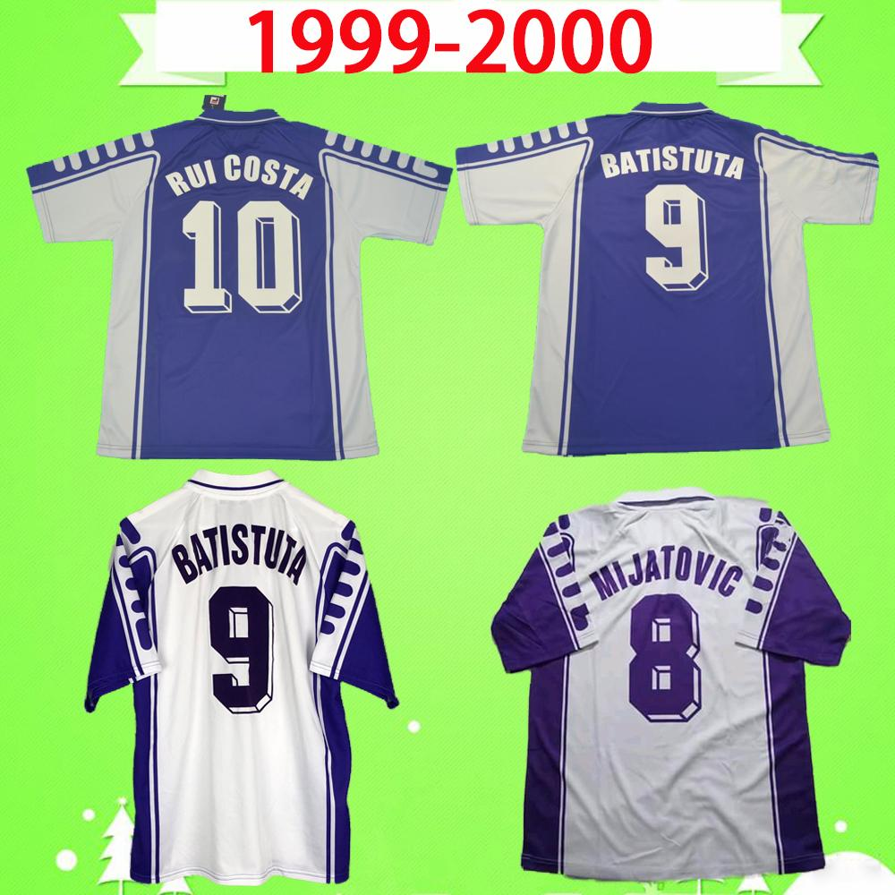 Acquista 1999 2000 Retro Fiorentina Soccer Jerseys 99 00 Classic Maillot Vintage Maglia Da Calcio Casa Away Camicie Da Calcio Batistuta Rui Costa ...