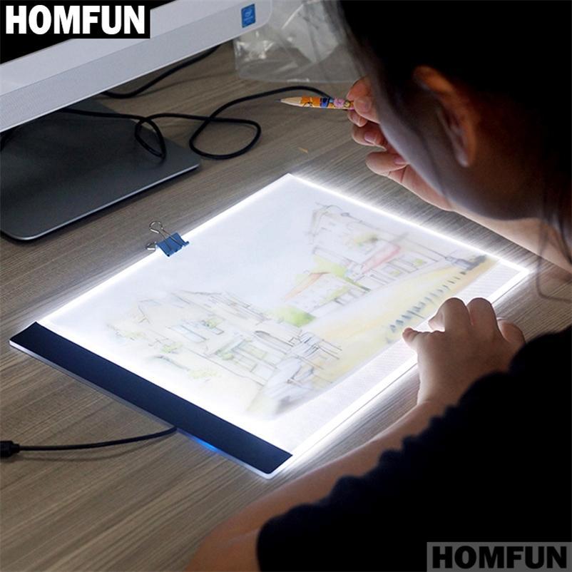 HOMFUN Ultrathin 3.5mm A4 LED Işık Tablet Pad Uygula AB / İNGILTERE / AU / ABD / USB Fiş Elmas Nakış Elmas Boyama Çapraz Dikiş 201212