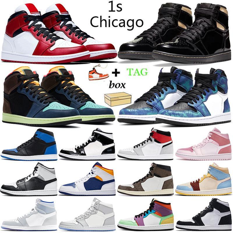 retro 1s 1 aj1 basketball shoes Chicago jumpman 1s 1 scarpe da basket da uomo scarpe da ginnastica da donna da esterno Tie Dye sneakers sportive da uomo da donna con scatola