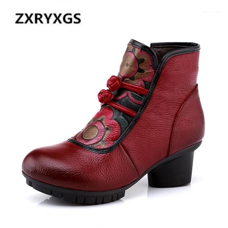 Nueva moda top de la impresión de cuero de vaca botas de cuero 2020 otoño botas de invierno zapatos de mujer mujeres comodidad zapatos cálidos toble1