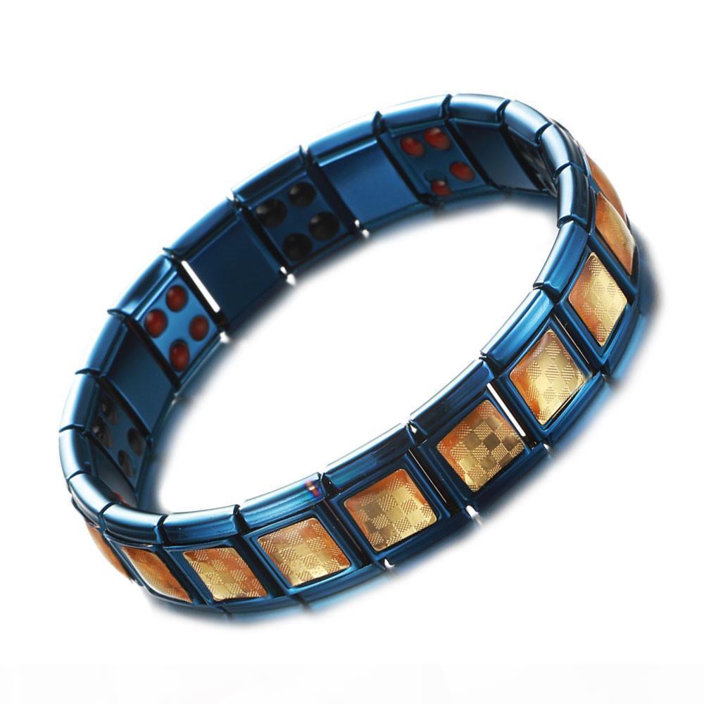 Yeni Moda Paslanmaz Çelik Mavi Altın Folyo Tasarım Enerji Sağlık Germanyum Manyetik Bilezik Erkekler Kadınlar Için Erkek Artrit Terapi Bilezikler