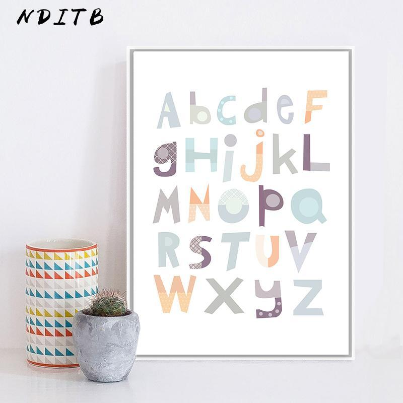 NDITB A to Z Alphabet Baby Nursery Wall Art Canvas Painting Educational ABC Posters and Prints Nordic Kids Decoration Pictures