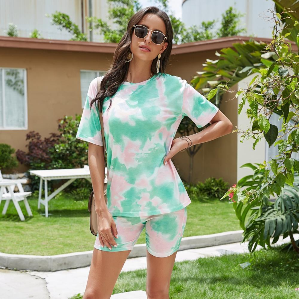 Летняя печать галстук-краситель Pajamas Градиент для женщин Хлопок Pajama набор шорты футболки домашний сервис костюм спящий отдых