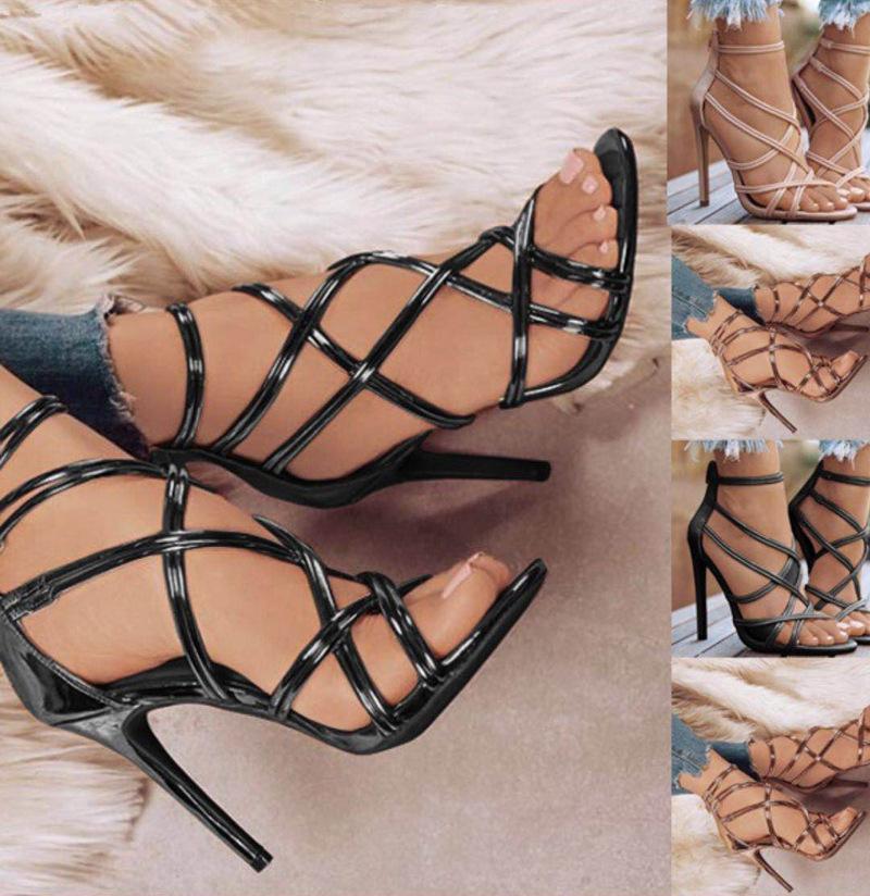 Sale chaude - Taille de la taille des femmes Chaussures de robe Femme Européenne et américaine Poisson Fish Bouche creuse creuse creuse Sandales à talons hauts femmes