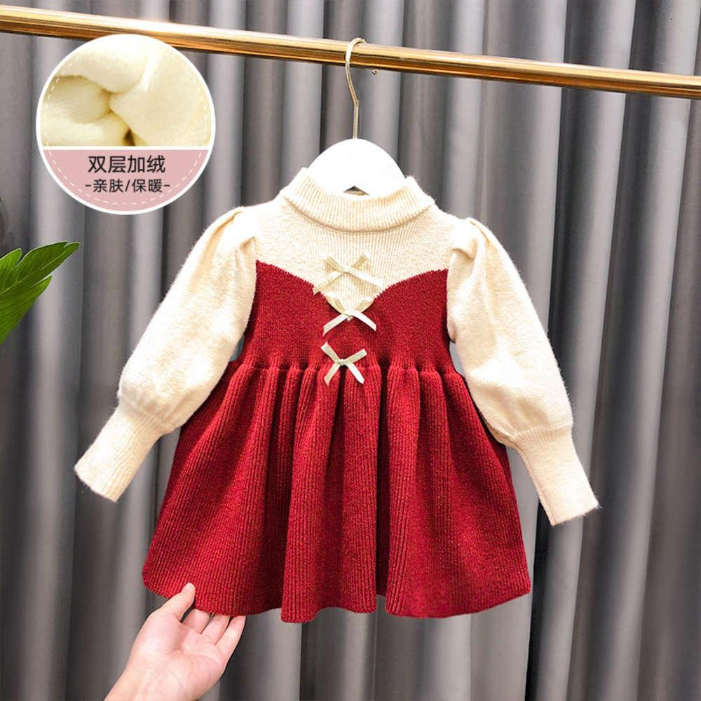 Girls' drs autumn winter 2020 princs Christmas new Year knitting baby long sve children's skirt