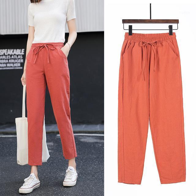 2020 Nuovi pantaloni da donna Pantaloni Primavera Estate Biancheria in cotone Lino Pianura in vita Elastico Candy Color Soft Harem High Quality Women1
