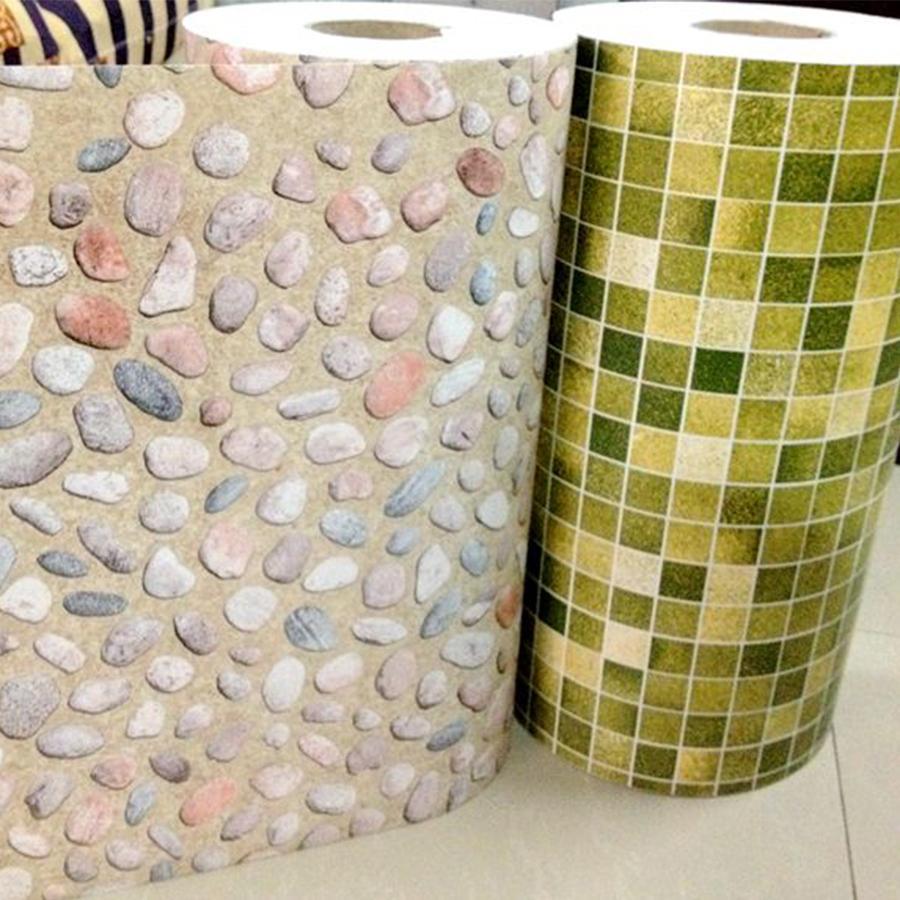 5m / 10m Nouvelle salle de bain carreaux de salle de bain étanche Sticker mural Vinyl PVC Mosaïque auto-adhésif autocollants anti-huile Autocollants d'écran DIY Fonds d'écran DIY Decor LJ201128