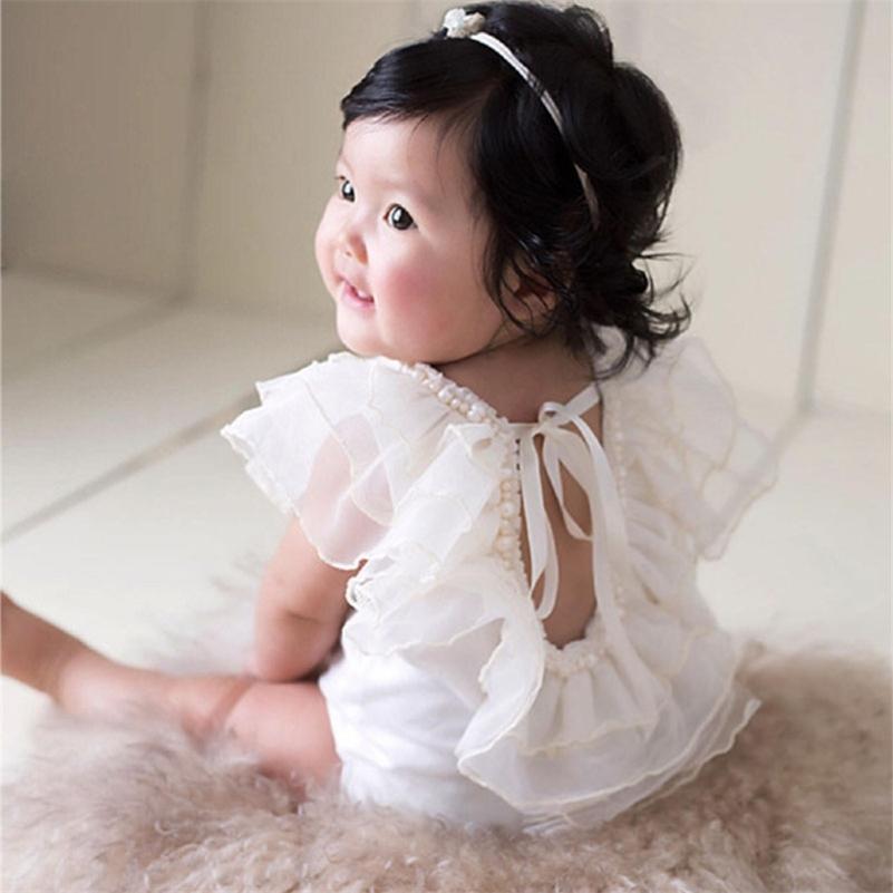 New Bebe Party Princess Vestido Encaje Relavado Relaves Infant Newborn Baby Girl Ropa Props para accesorios de fotografía 201216