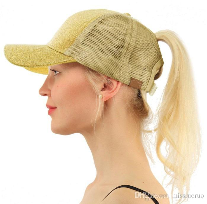 50 adet Dış Ticaret Payetli Floresan Beyzbol Kap Geri Açık At Kuyruğu Beyzbol Şapkası Göz Kamaştırıcı Pembe Mesh Cap Casquette