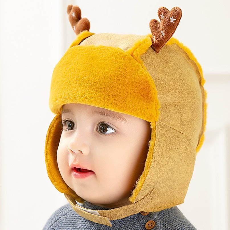 Winter warm baby hats Cartoon suede Infant hats cute newborn hats boys hat baby earmuffs hat baby cap girls caps 6-12months B3670