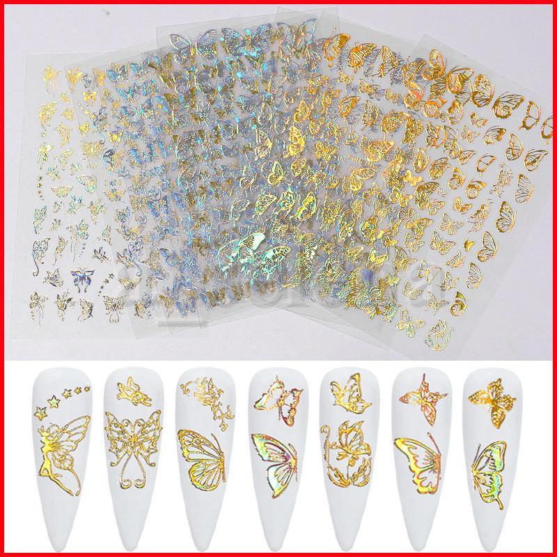 Holographische 3D Butterfly Nail art Aufkleber Klebstoff Slider Bunte DIY Goldene Silber Nagelüberzug Abziehbilder Folien Wraps Dekorationen