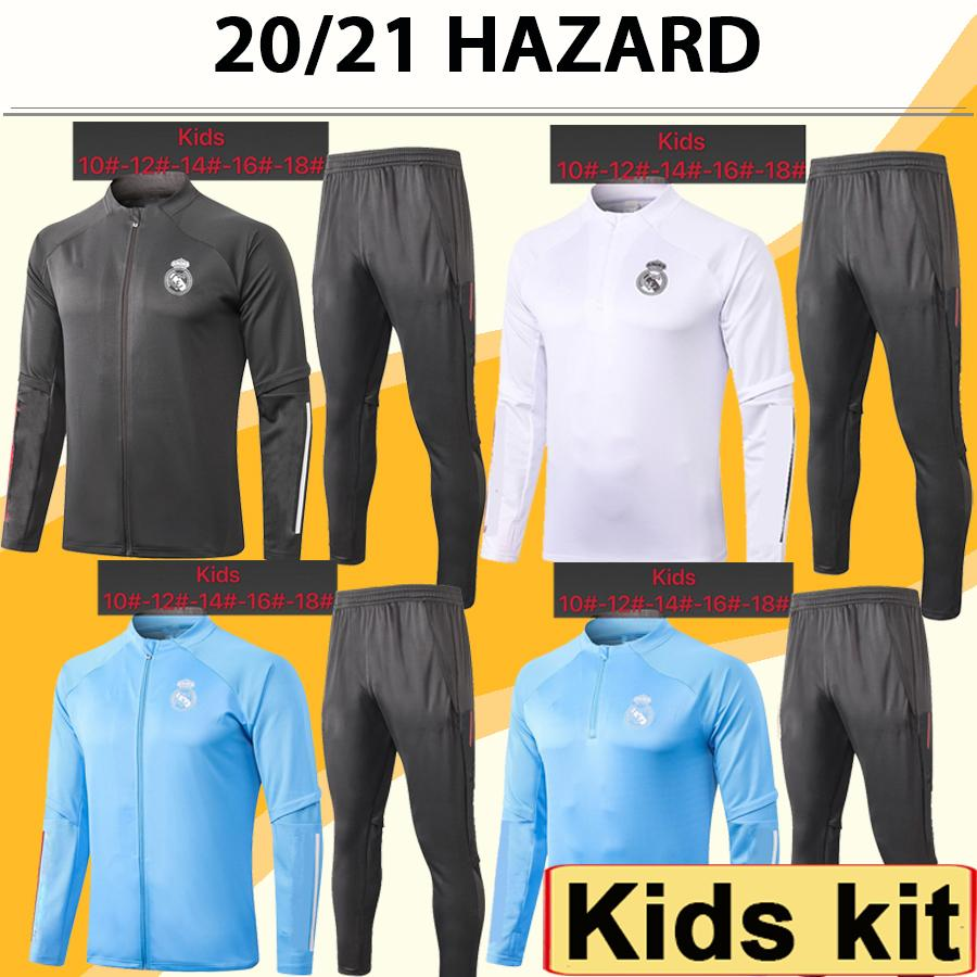 20 21 HAZARD Jacket kids Kit Soccer Jerseys New SERGIIO RAMOS BENZEMA CASEMIRO Tracksuit Child Suit Training Wear Football Shirts Top
