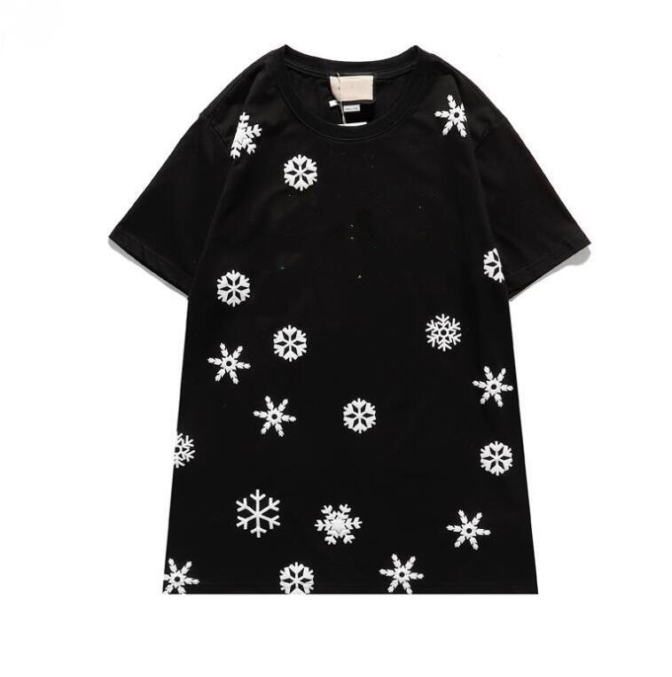 جودة عالية بالجملة شيرت جديد 2021 إلكتروني ندفة الثلج التطريز الرجال والنساء الأزياء قصيرة الأكمام تي شيرت 100٪٪ قميص جودة عالية