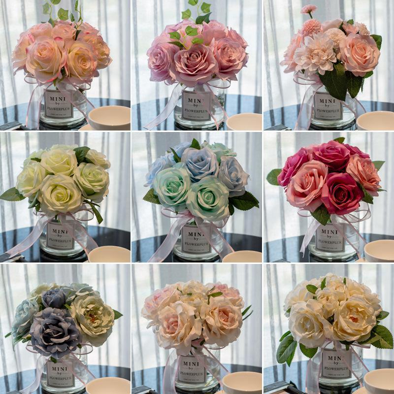 Wohnzimmer Transparente Blume, Kreative Hortensie Blume, Künstliche Blume Glasvase, Tisch Blume Kunst Simulation Blume Set F1217