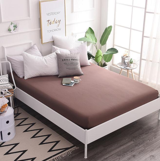 Sheets & Sets Brown Purple Pink Gray Cotton Fitted Sheet Mattress Cover With All-around Elastic Rubber Band Bed Selling Linens1