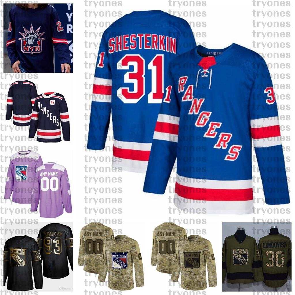 2021 Retro Retro Personalizar 31 Igor Shesterkin New York Rangers Hockey Jersey Golden Edition Camo Veteranos Día Fights Cáncer cosido