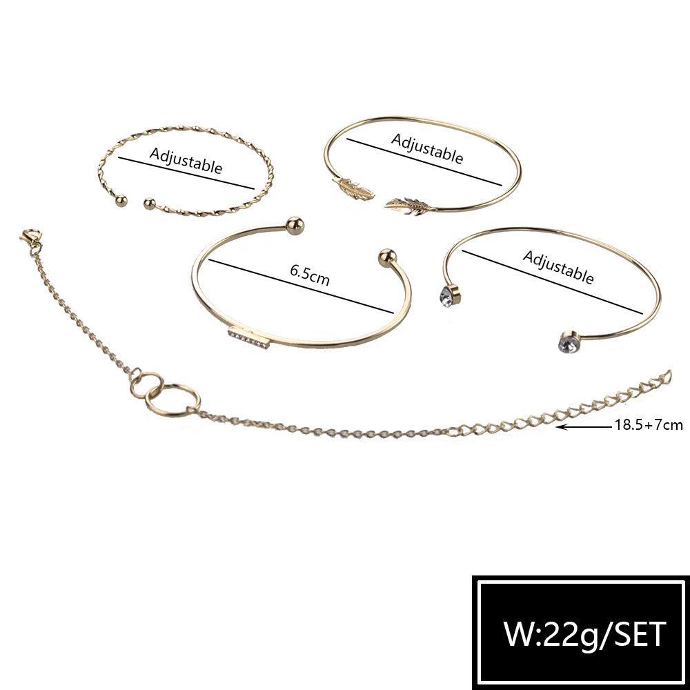 Bohême Bracelet Bracelet Double Cercle rond Bracelet en cristal avec alliage de zinc pour femme Bracelet Bijoux accessoires en gros