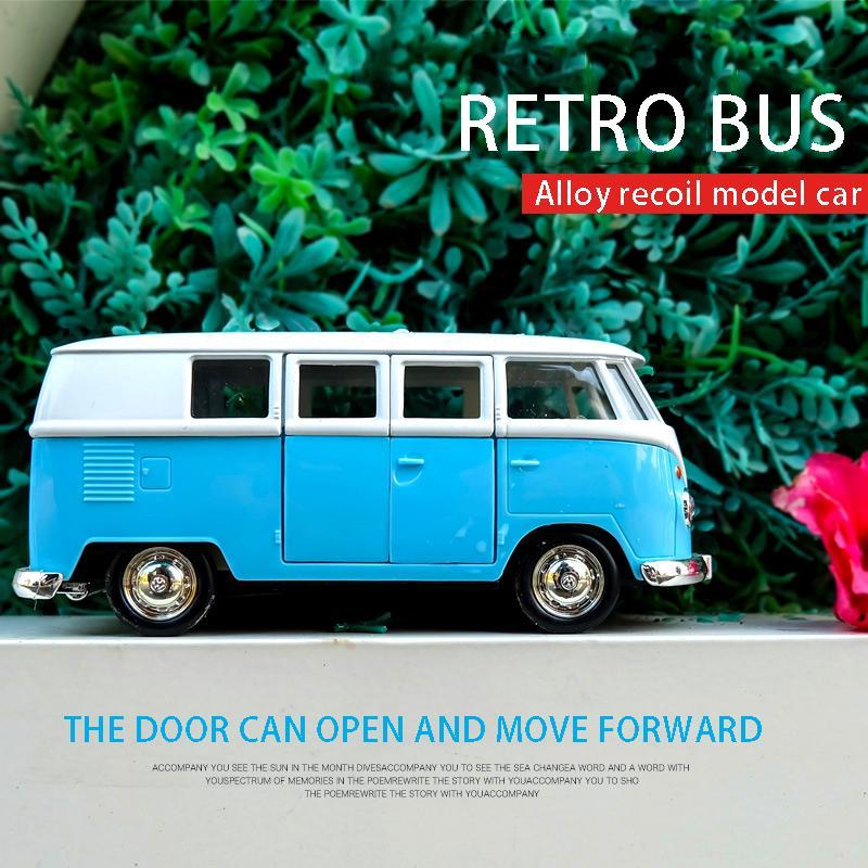 1:36 Escala Volkswagen T1 Ônibus Diecasts Toy Veículos Simulação Metal Puxar Voltar Bebê Menino Liga Carro Modelo Decor Brinquedos Para Crianças Presentes Z1202