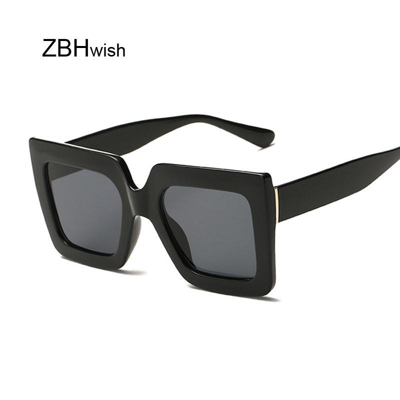 Vintage übergroße quadratische Marke Designer Luxus Retro Black Rahment Sonnenbrille Frauen UV400 Töne