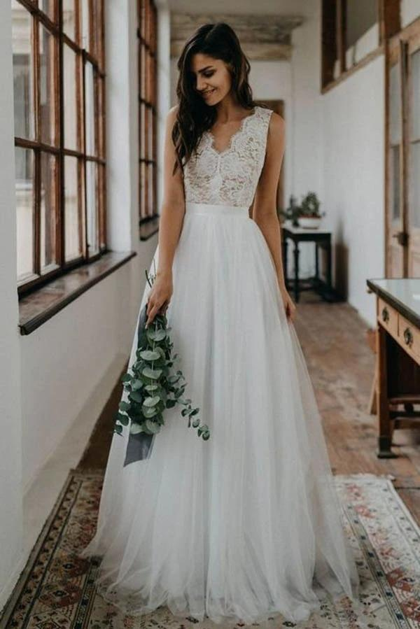 Bohemian Lace Wedding Dresses backless 2020 Elegant V-neck Sleeveless Soft Tulle Beach Boho Bridal Gowns Custom Made Robe de Mairee