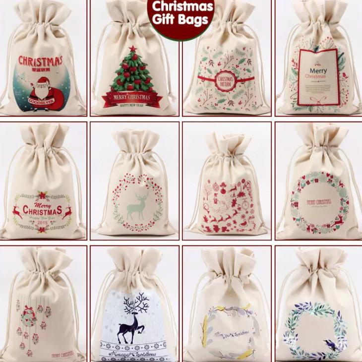 أحدث 16 * 23.5cm الحجم، حقيبة قماش عيد الميلاد، زينة عيد الميلاد حقيبة الرباط، هدية حقيبة القماش مخصص