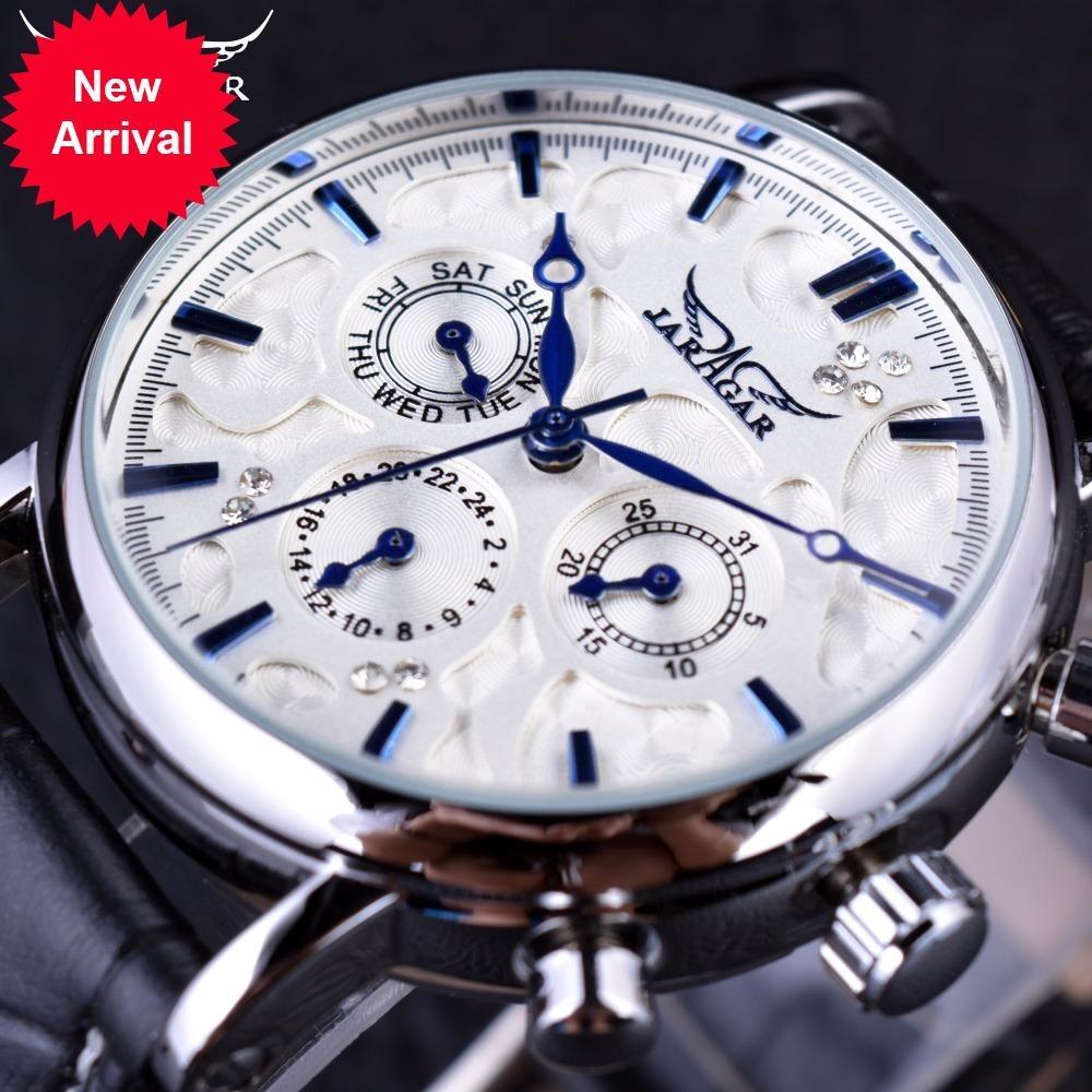 Jaragar Blue Sky Series Elégante Design Véritable Bracelet en cuir homme Montre Montre Montres Hommes Montres Top Brand Horloge de luxe Hommes Automatique