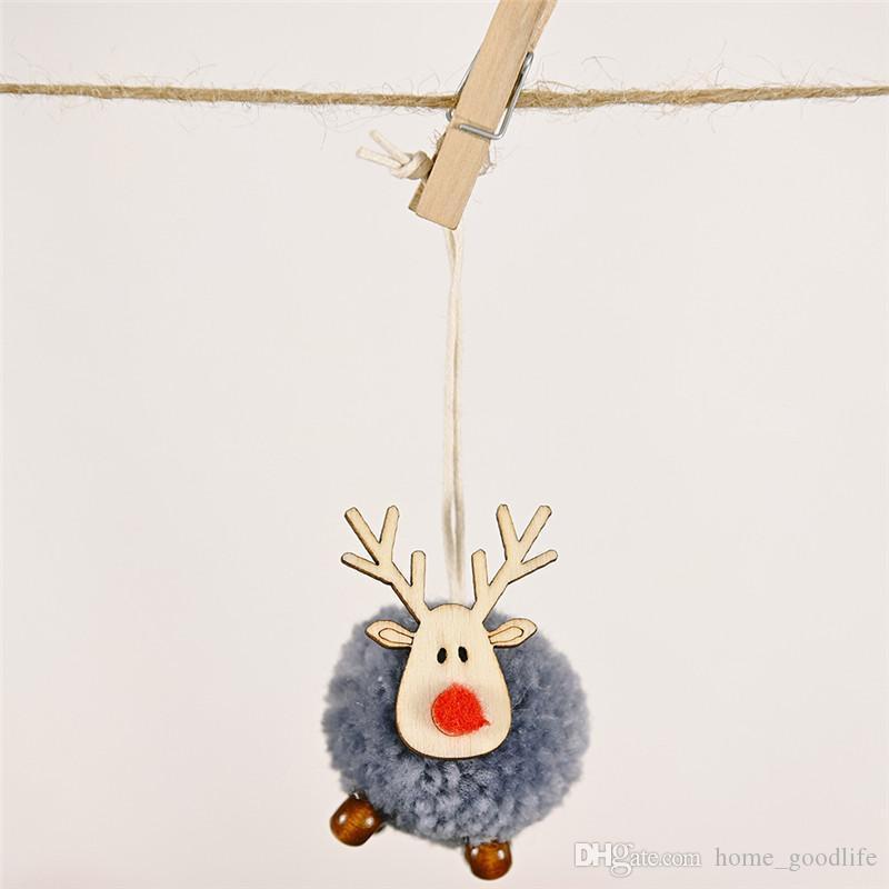 2020 New Cute Felt Wooden Elk Christmas Tree Ornaments Pendant Pendant Deer Craft Decorations Family New Year 2021 Christmas Decorations