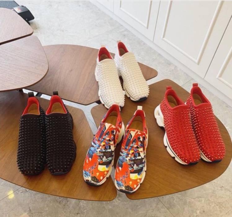 Krystal Spike Çorap Donna Düz Sneakers Tasarımcı Erkekler Kırmızı Sole Ayakkabı Kadın Perçin Sivri Çorap Junior Spikes Flats