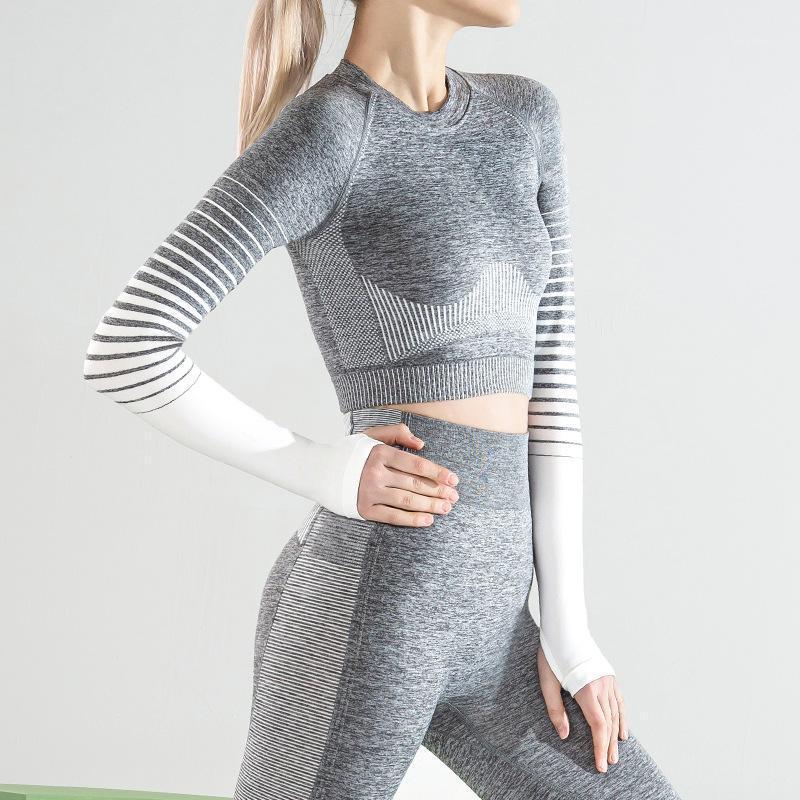 Roupas de ioga fitness esportes esportes top para gradientes senhoras sem costura altas mangas longas elásticas duplas rodando rápido treino de secagem t-shirt11