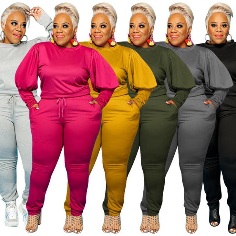 Plus Größe Frauen Kleidung Herbst Winter XL-5XL 2 Stück Set Hoodies + Hosen Rundhalsausschnitt Sportanzug Solide Farbe Sportswear Langarm Trainingsanzug 4237