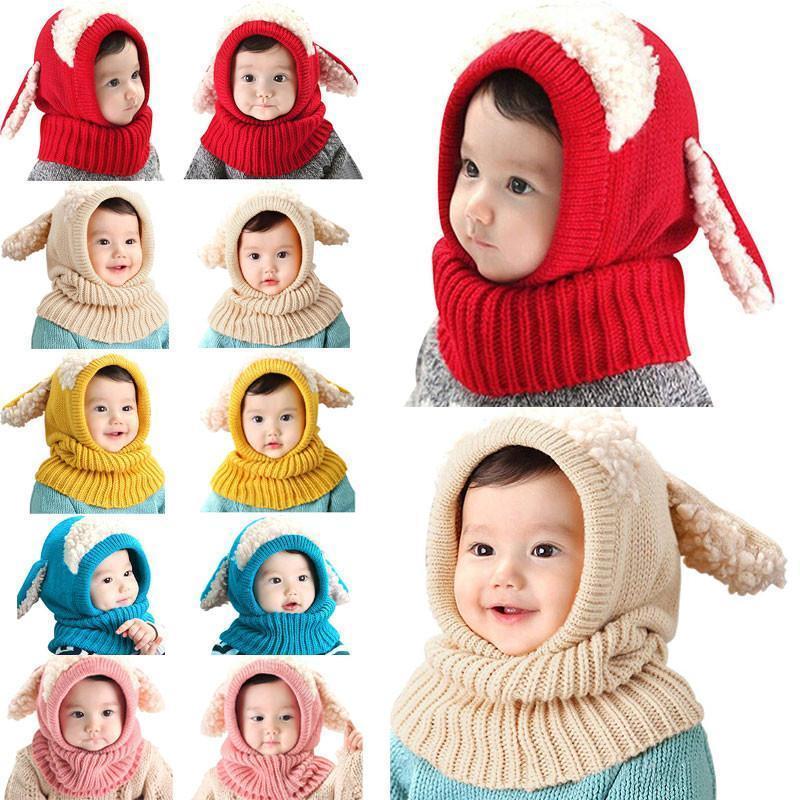 Sıcak Sevimli Yürüyor Çocuk Kız Erkek Bebek Bebek Kış Sıcak Tığ Örgü Şapka Beanie Cap