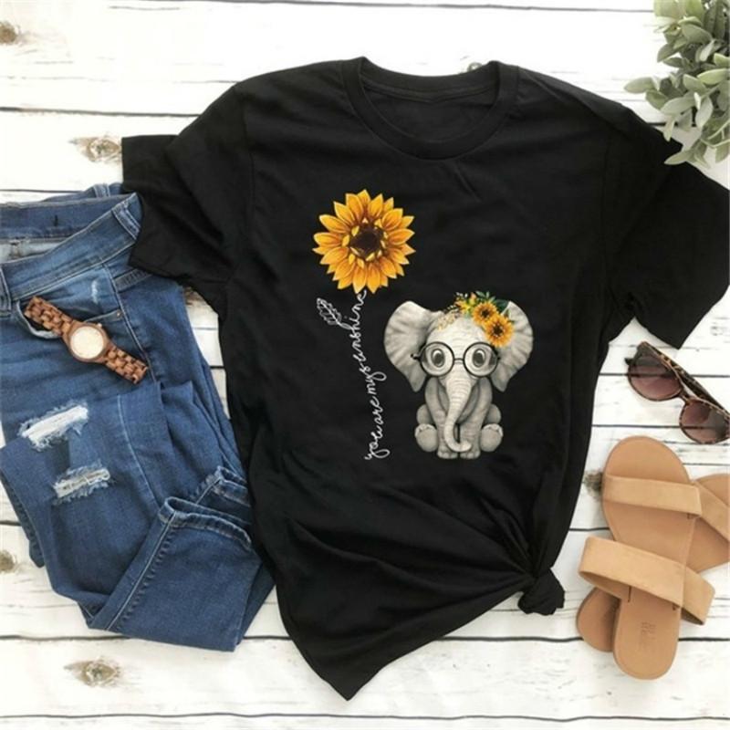 o 2020 Elephant Sunflower Imprimir Neck Camisetas Mulheres Casual Curto Tee Sleeve Tops para Female Cartoon T-shirt bonitos Femme Clothings