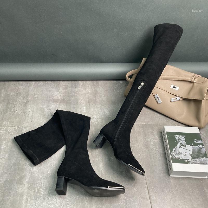 2020 neue winter frauen schuhe weibliche elastische flanell mittlere ferse quadratische ferse über kniegelstiefel mode quadrat toe dicke ferse lange boots1