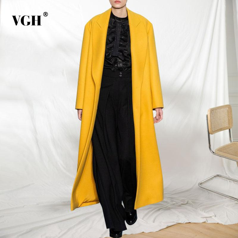 VGH rahat gevşek tüvit kadınlar için yaka uzun kollu zarif minimalist sarı büyük tüvitler kadın moda giyim 2020 yeni stil