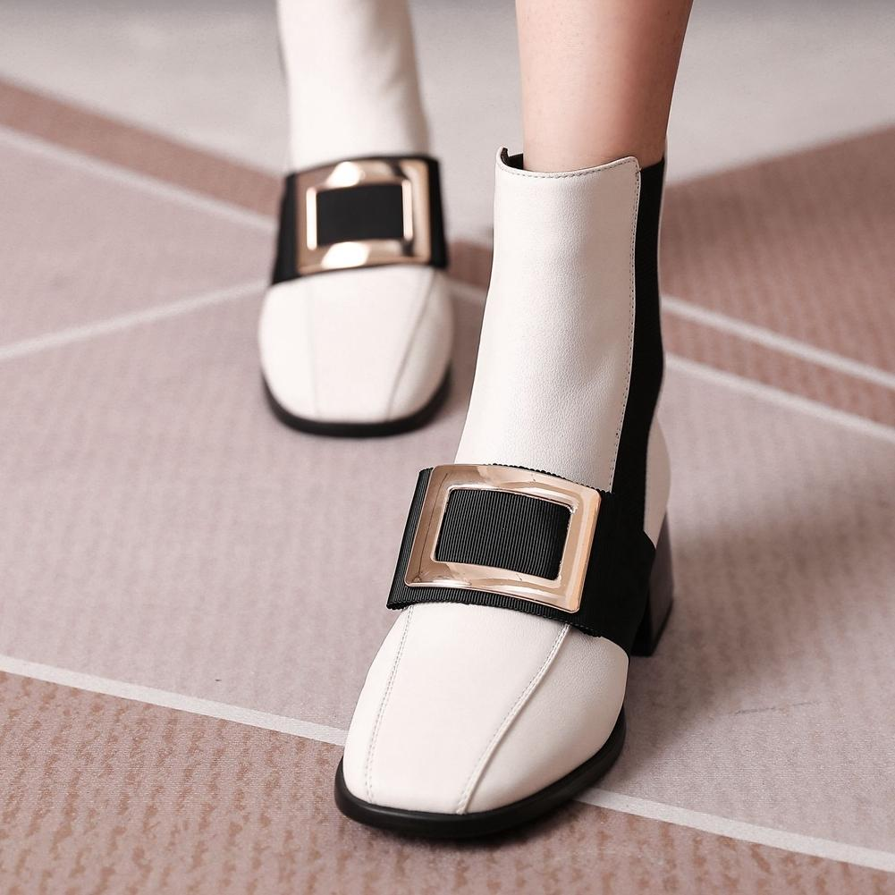 Hot Sale-Brand New Big Size 43 Genuine Leather Buckle Chunky Heels Office Lady Ankle Stylish Winter Shoes Boots
