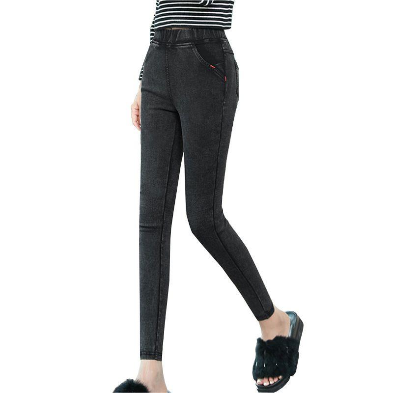 Стиль плюс размер женщин карандаши хлопчатобумажные брюки 2020 новые карманные тощие джеггинсы джинсовые тонкие