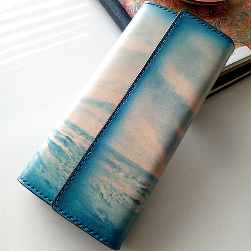 Diseñador - mujeres hechas a mano tallando el mar azul velero billeteras carteras bolsas embrague vegetal bronceado cuero hermoso