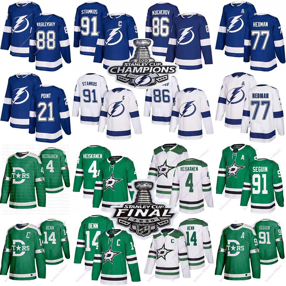 2020 Tampa Bay Lightning Jerseys 91 Stamkos 86 Kucherov 77 Hedman 88 Vasilevskiy Dallas estrelas 91 Seguin 14 Benn 4 Hockey Hockey Jersey