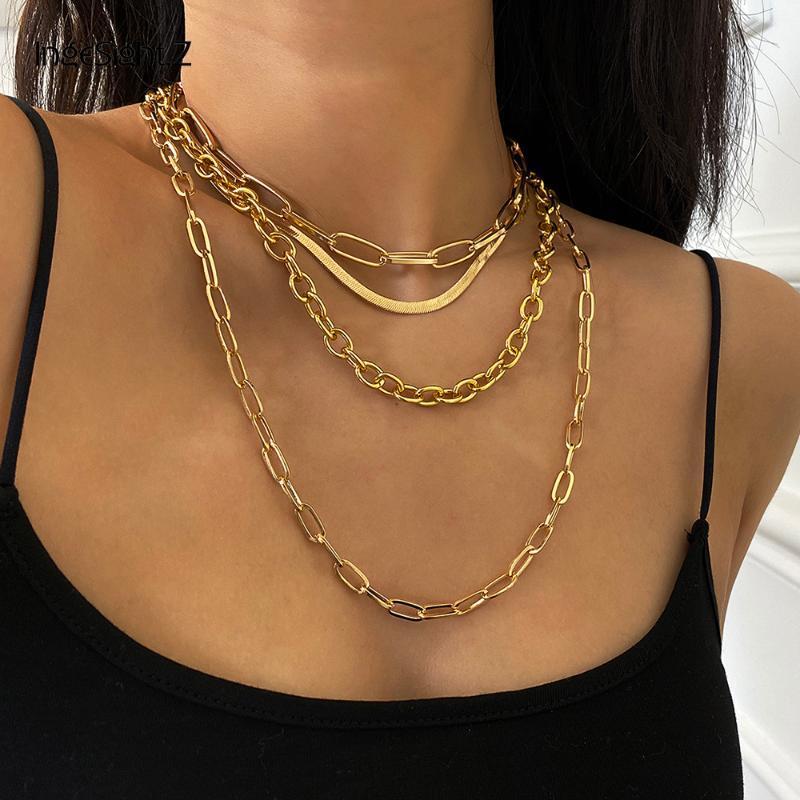 2021 ZB21 Ingesight Z 4pcs / Set Multi stratificato Chunky Spessore Miami Curb Curb Curb Choker Collana Gothic Gold Color Color Snake Collane collane gioielli