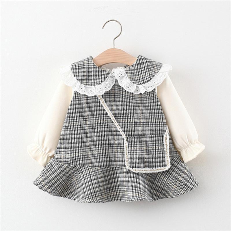 Robe de bébé robe d'automne à manches longues à manches longues à manches longues pour les filles vêtements bébé imprimé mini-bambin imprimé pour 0-24m