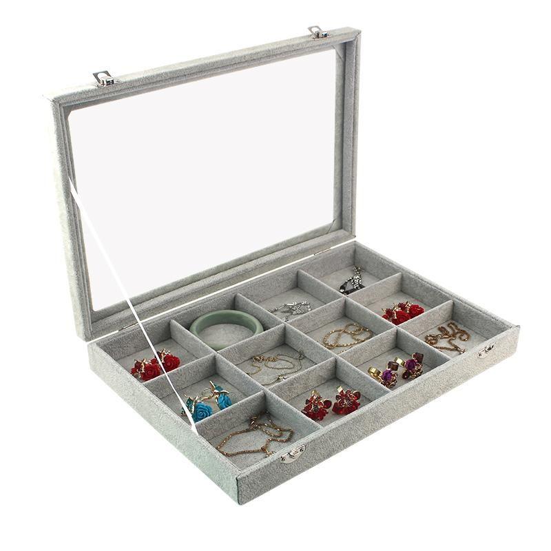 Velvet gris 12 grilles de transport avec couvercle en verre bijoux Bague d'affichage Bague de rangement porte-bagues Bague Organisateur Bague