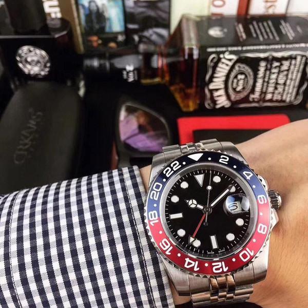 TM İzle Yeni Stil Erkek Saatler 40mm Otomatik Mekanik İzle Paslanmaz Çelik Mavi Siyah Seramik Safir Saatı Hediye