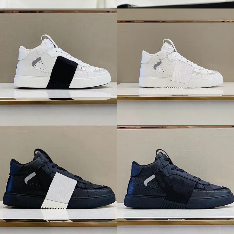 Luxurys Designer VL7N Calfskin أحذية رياضية رجالي المرأة الفاخرة منصة المدربين عالية أعلى و المنخفضة أعلى الشقق عارضة الأحذية مع مربع 35-46 265