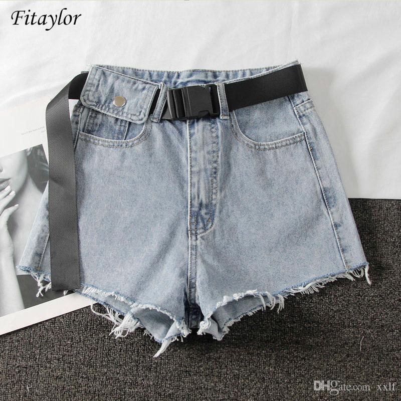 Fitayaylor Neue Sommer Frauen Hohe Taille Schwarz Blau Denim Shorts Casual Weibliche Loch Massivfarbe Plus Größe 2XL Jeans Shorts mit Gürtel