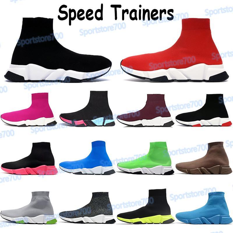 Mens Fashion Shoes Paris Speed Trainers Triplo Vermelho Royal Preto Branco Verde Bege 2019 Slip-on Chaussures Homens Mulheres Peúgas Sapatos Sapatilhas