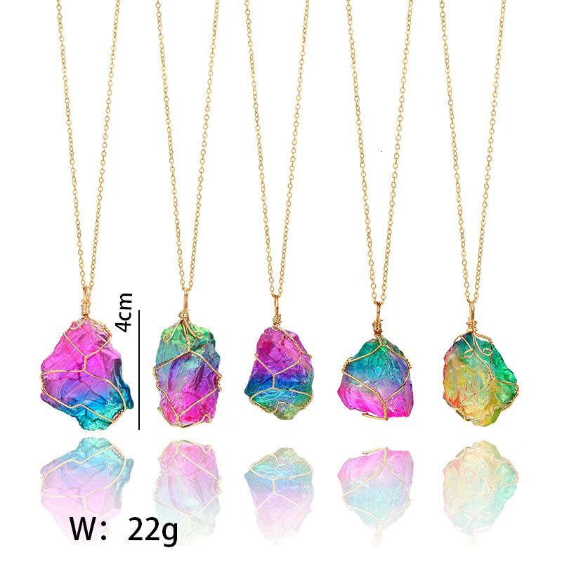 Heilung Unregelmäßiger Kristall Quarz Neue Punkt Chakra Bead Edelstein Halskette Anhänger Original Natürliche Steinsteine Halsketten